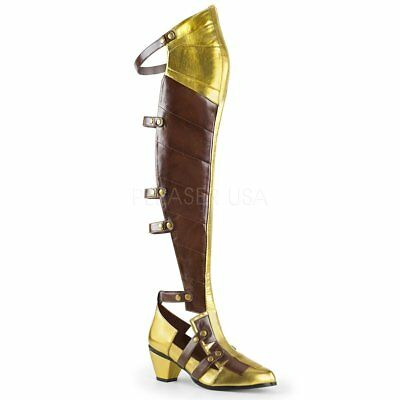 Steampunk Superhero Knight Paladin Armour Cosplay Gold Knee High Boots