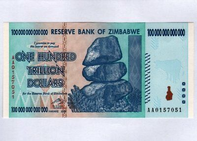 Zimbabwe 100 Trillion Dollar VERY LOW SERIAL AA01..... Note Bill Money Inflation