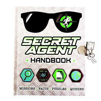 Secret Agent Handbook - sleuth travel guide for kids with padlock and key
