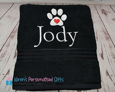 Personalised Dog Towels, Black, SMALL, LG, XL, Luxury Egyptian towels 600 gsm