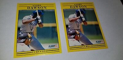 1991 fleer baseball #419 andre dawson cubs card lot error missing stat line