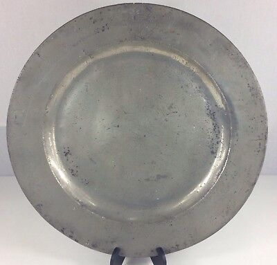 "Large Antique Polished Pewter Charger With Crest ""Honi Soit Qui Mal Y Pense"""