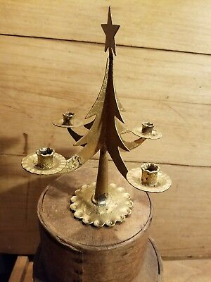 Adorable Old Vintage Mid To Late 1900'S Gold Metal Christmas Tree Candle Holder
