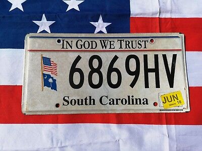 Plaque d'immatriculation South Carolina 6869HV Us Usa license plate