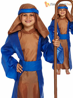 Kids Blue Shepherd Joseph Innkeeper Nativity Costume Boys Christmas Fancy Dress
