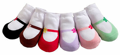 So Cute!  Jazzy Toes Socks- Mary Jane's Set of 6 Pair- Size 0-12 Months