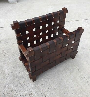 Vintage Arts and Crafts Style Magazine Rack Leather Strap Wood Mission Style