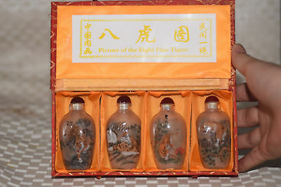 "4pc Chinese folk Inside painted ""Eight tiger Map"" glass snuff bottle"