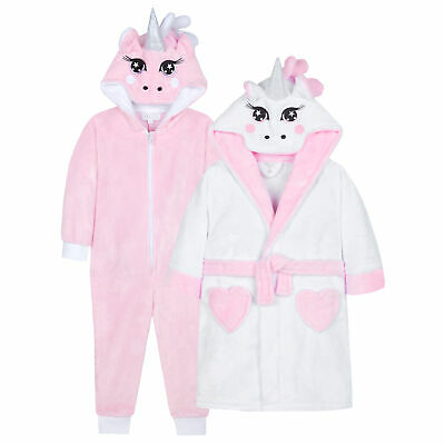 Girls Unicorn All In One & Dressing Gown Robe Gift Set Kids Novelty Plush Fleece