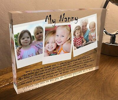Crystal Clear Glass Photo Block Personalised Nanny Nanna Nan Mothers Day plaque