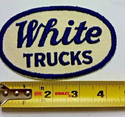 VINTAGE Embroidered Automotive Gasoline Patch UNUSED - WHITE TRUCKS