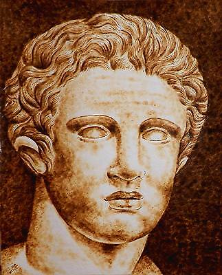 Original Pyrography (Drawing With Fire) On Watercolor Paper - Roman Man