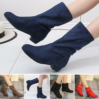 01be0d4a338 Fashion Lady Flanging Mid-calf Low Heel Boots Shoes Winter Warm Padded Suede  New