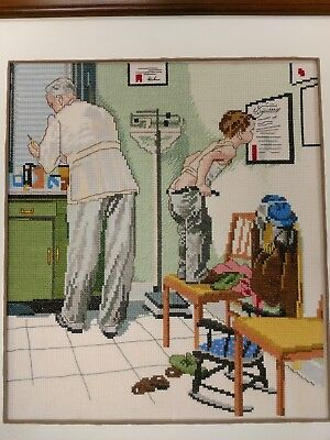 NORMAN ROCKWELL Completed Cross Stitch DOCTOR
