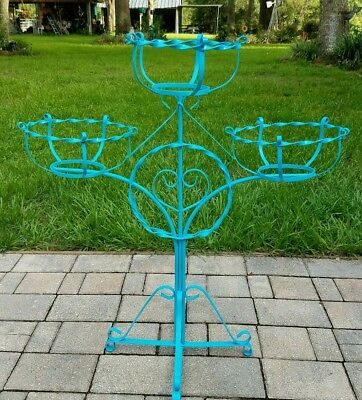 vintage wrought iron plant stand pot holder 3 tier teal blue boho Mid-Century