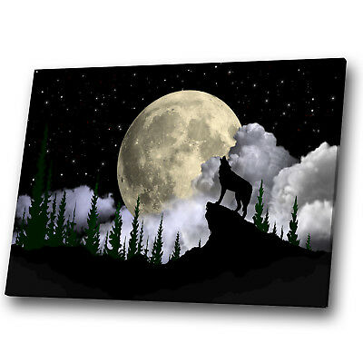 A939 Wolf Black Moon White Grey Funky Animal Canvas Wall Art Large Picture Print