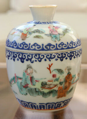 Antique Rare Chinese Porcelain Box Bowl Cover Famille Rose  - Tongzhi Mark 19th