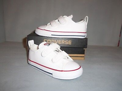 Toddler Converse Chuck Taylor All Star Ox 2V Sneakers White Sizes NIB Hook/Loop