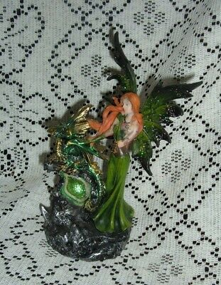 "Green Elemental Resin Fairy And Dragon Led Figurine 8 1/2""  New In The Box Sf-22"