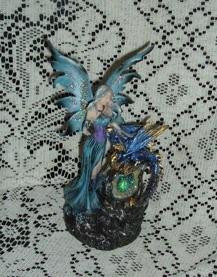 "Blue Elemental Resin Fairy And Dragon Led Figurine 8 1/2""  New In The Box Sf-21"