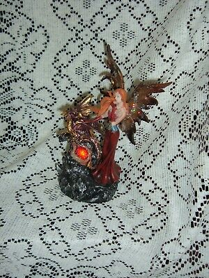 "Red Elemental Resin Fairy And Dragon Led Figurine 8 1/2""  New In The Box Sf-24"