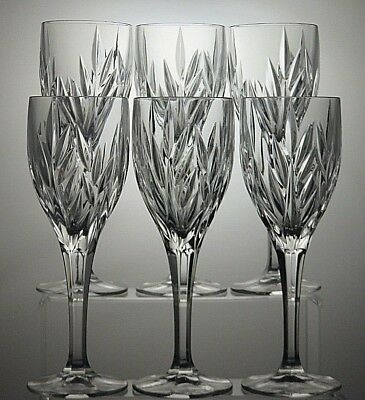 "6 Galway Irish Crystal ""clifden""cut 10 Oz Wine Goblets/glasses Tall 8 1/2"""