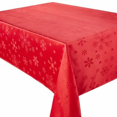 "A Round/Circular Red Snowflake Christmas Tablecloth 69"" (175cm) Diameter"