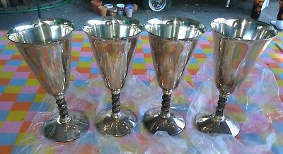 LOT OF 4 E.P.B. Mos Silver Goblets Made in Spain 7""
