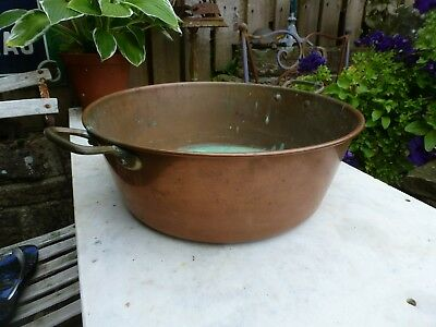 Vintage copper jam pan planter brass handles sink garden kitchen plant pot cook