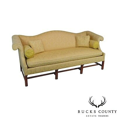 Southwood Mahogany Chippendale Style Yellow Upholstered Sofa