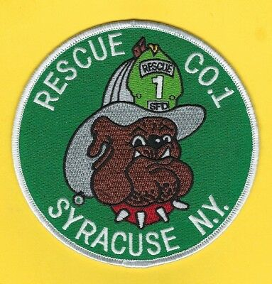 Syracuse Fire Department Rescue 1 Company Patch ~ New York ~ Mean Bulldog