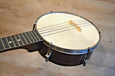 Vintage Banjo Ukulele, or Banjolele, metal resonator,