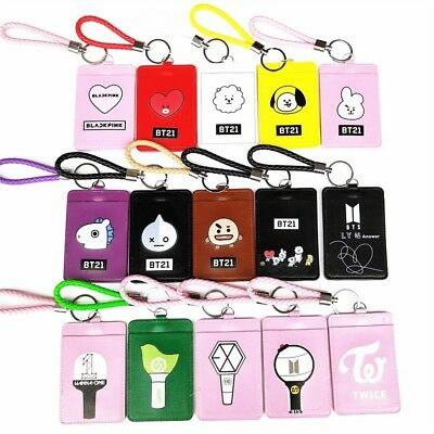 Kpop BTS BT21 EXO GOT7 SEVENTEEN TWICE ID Badge Card Holder Keychain Keyring NEW