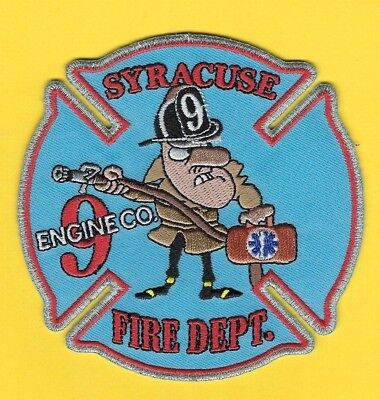 Syracuse Fire Dept Engine 9 Company Patch ~ New York ~ Great Cartoon Patch