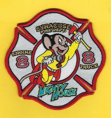 """Syracuse Fire Dept Engine 8-Truck 8 Company Patch ~ New York ~ """"Mighty House"""""""