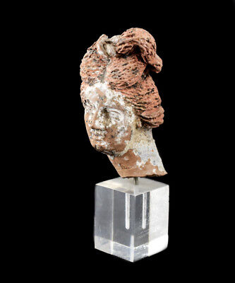 Archaic Greek Terra Cotta Head Fragment, 400-500BC? Young Woman, upswept hair