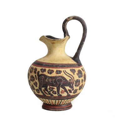 Archaic Miniature Greek Oinochoe Jug, decorated w/ griffin / sphinx, bird, Ibex