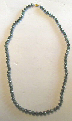 Old  Sterling Clasp Asian Chinese Hand Knotted Green Jade Nephrite Bead Necklace