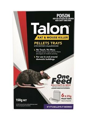 Talon Pellets 150g Selleys Rat Mice pellets tray 6 x 25g Trays