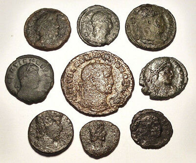 Lot of 9 Æ1-4 Ancient Roman Bronze Coins from IV. Century