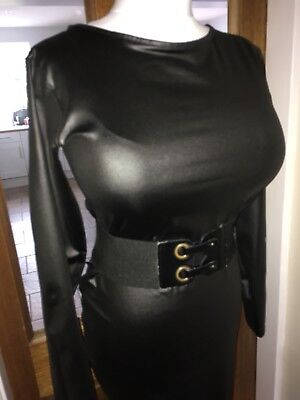 Sexy Shiny Mistress Governess Wetlook PVC Look Stretch Dress Size 14,16,18