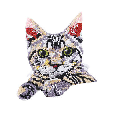 Pocket Cat Embroidered Iron on Badge Fabric Kids Clothes Bag Sewing Applique D