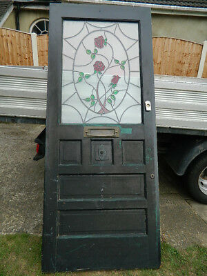 1930's STAINED GLASS FRONT DOOR OLD PERIOD RECLAIMED ANTIQUE Grays Essex