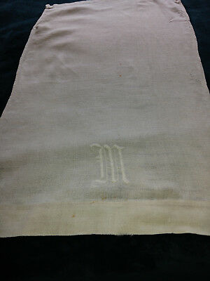 Vintage Antique Needlework Linen Hanging Towel, Embroidered Initial M, mid 1800s