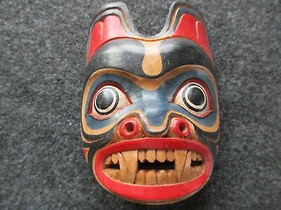 Classic Northwest Coast Design, Carved Wooden Ceremonial Effigy Mask,  Wy-02539A