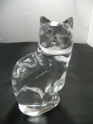 "Orrefors Clear Crystal Art Glass Sitting Cat Figurine 5"" Tall Signed Sweden"
