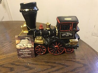 Ezra Brooks 12 Years Old  Train Whiskey Decanter Bottle With Coupon Ad Book