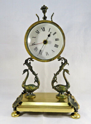Vintage brass clock swan standing decorated french Empire style