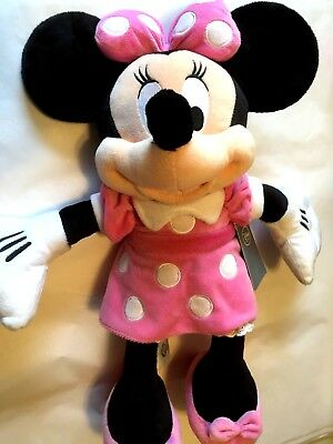 "Disney Store Minnie Mouse Plush Pink Medium 18"" New with Tags"