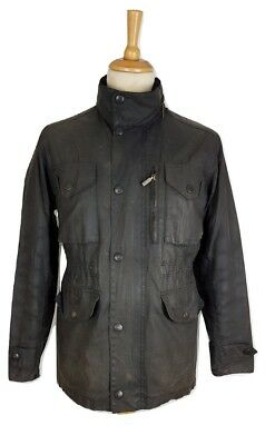 Q436 Barbour A359 Mens Black Distressed Worn Waxed Sapper Utility Jacket Small